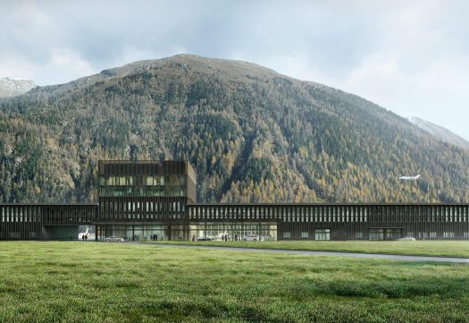 The front of the façade of the Engadin airport, Samedan Regional Airport, Europe's highest airport. Photo by: Samedan Regional Airport.