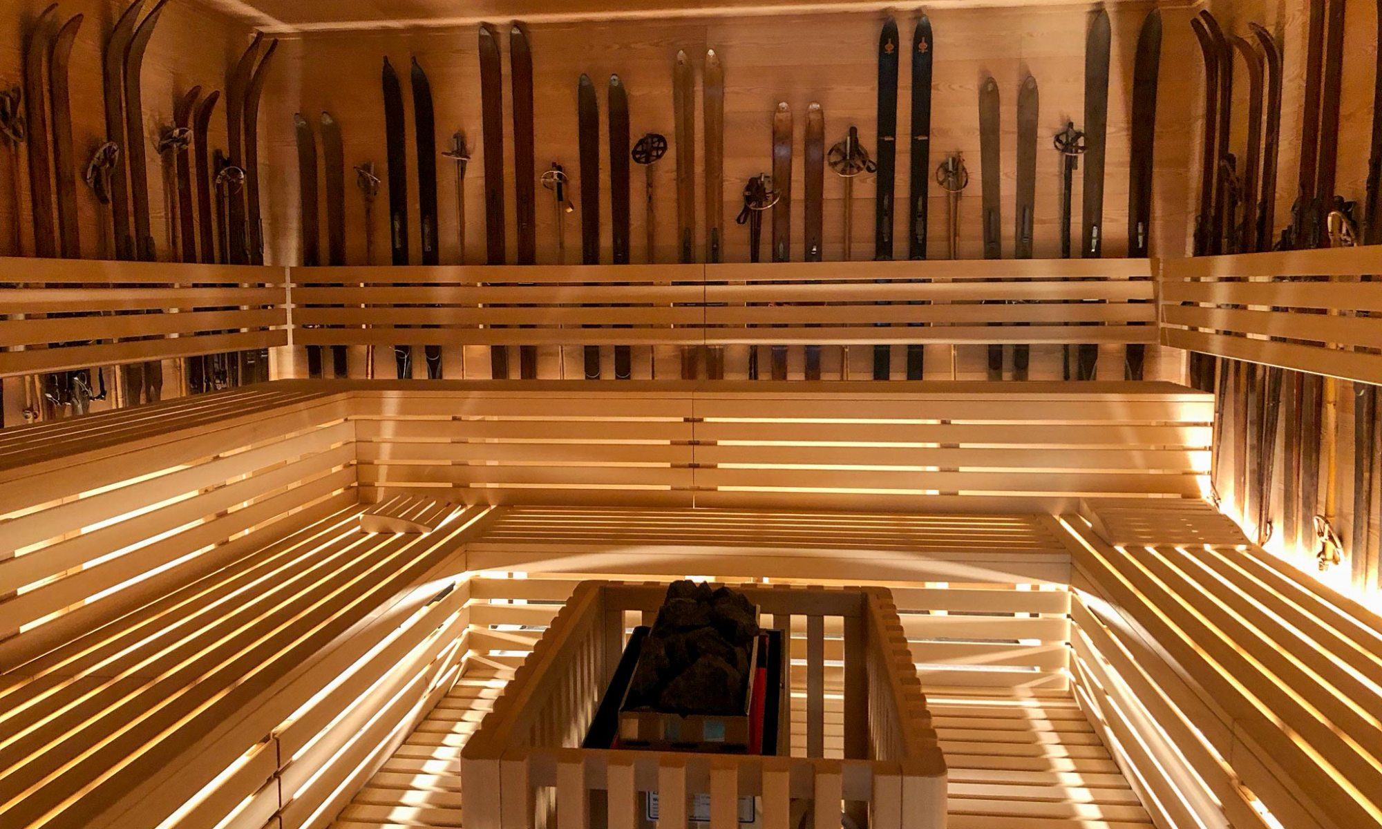 A new QC Terme opened in Chamonix - a sauna surrounded by skis.