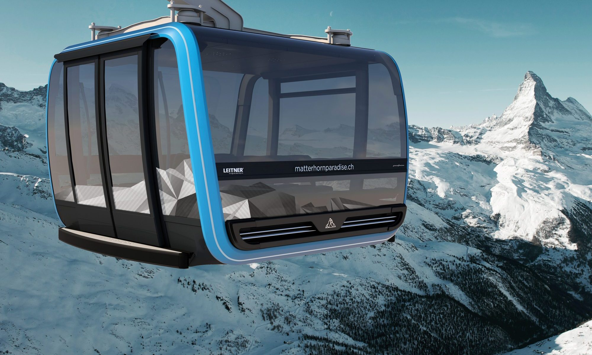 The new Matterhorn Glacier Ride is opening end of September to take you to the Petit Cervin/Klein Matterhorn. Project by Leitner Ropeways. Pinifarina, Swarovski crystals