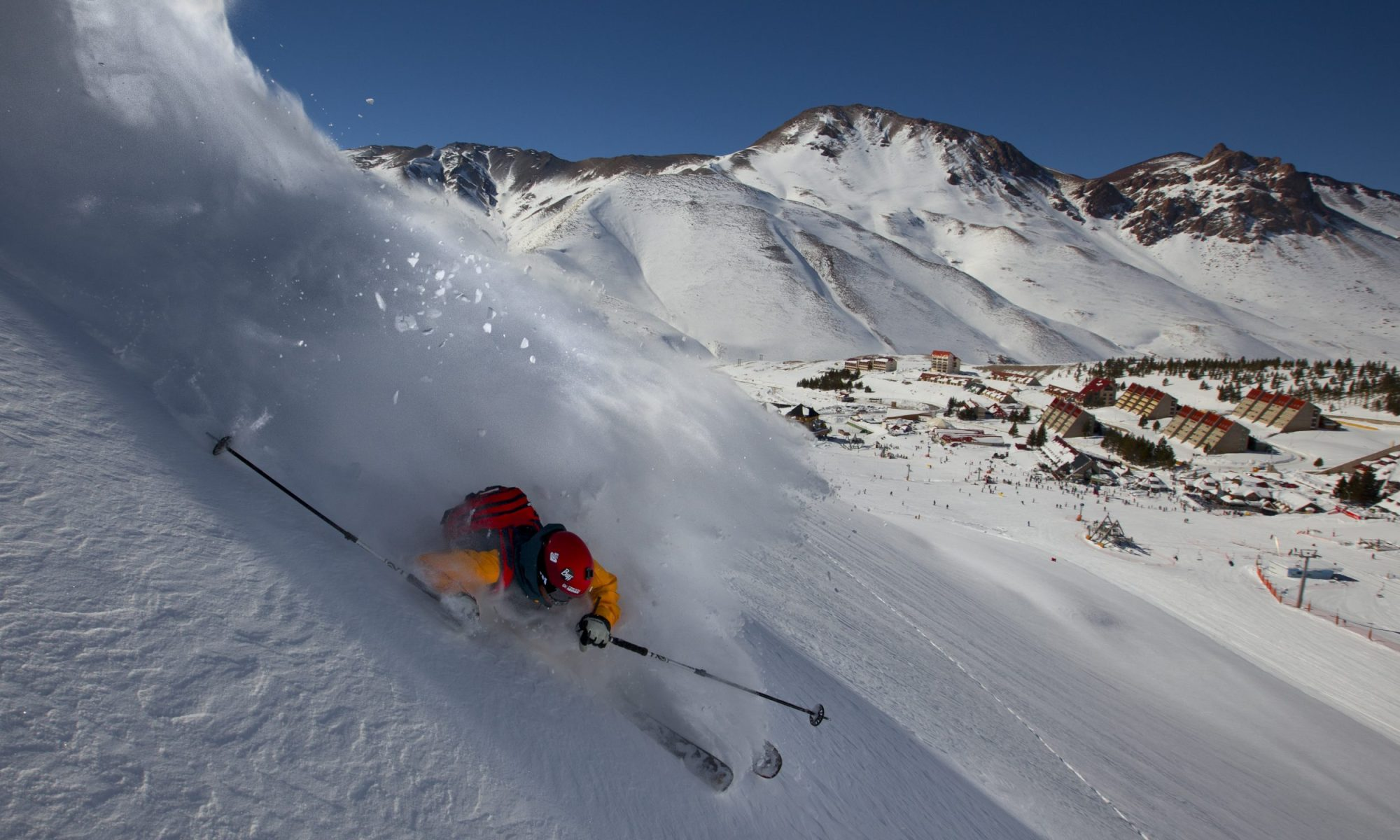 Las Leñas, Cenidor, a black short steep piste in Las Leñas connecting the two sectors of the mountain. .