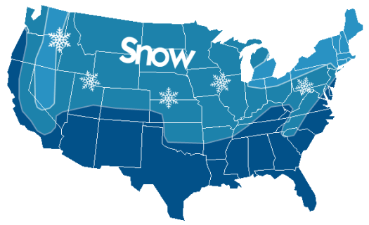 Snow map of the United States which coincides with where is recommended to use snow tyres. Credit: Winter TPMS