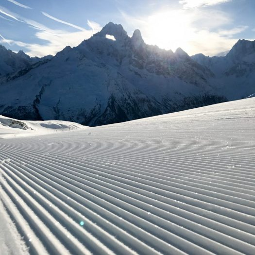 Flegere- a lovely groomed run early in the morning. Photo by Salome Abrial. Tourism Office Chamonix. What is new in Chamonix for the 2018/19-ski season.