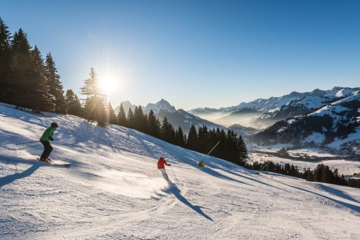 Gstaad Winter Shooting January 2017. Horneggli Skifahren. Photo: Gstaad Tourism Office.