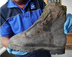 Some boots from an old couple of Japanese climbers lost many more years ago, found in 2015. Thanks to a DNA test confirmation, the remains found near the Matterhorn where matched to a Japanese climber.