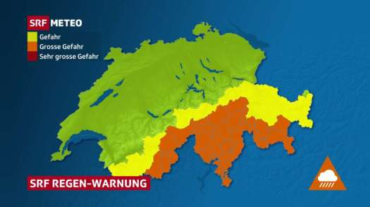 SRF Meteo announces heavy rain from the Upper Valais over the Ticino to Southern Grisons.