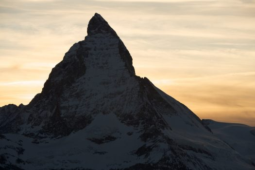 Matterhorn at dusk. Photo credit: Marc Weiler. Zermatt Tourism Office.