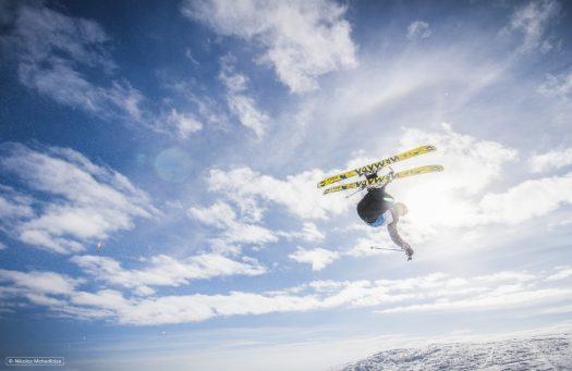 A skier doing a flip at Gudauri Ski Resort in Georgia. Photo: Mountain Resorts of Georgia. The ski resort Gudauri is rebuilding one lift and adding six new lifts by Doppelmayr and Poma.