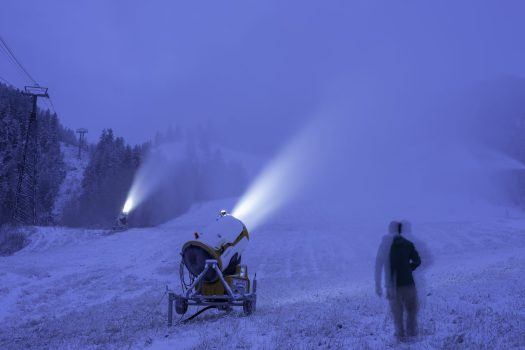 Snowmaking in Ajax. Photo: Dan Bayer. Aspen Skiing Company. Snowmaking Operations Underway at Aspen Snowmass for the 2018-19 Season