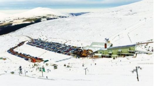 Cairngorm Mountain's parking lot. Cairngorm Mountain's economy will suffer if the funicular does not open this season.