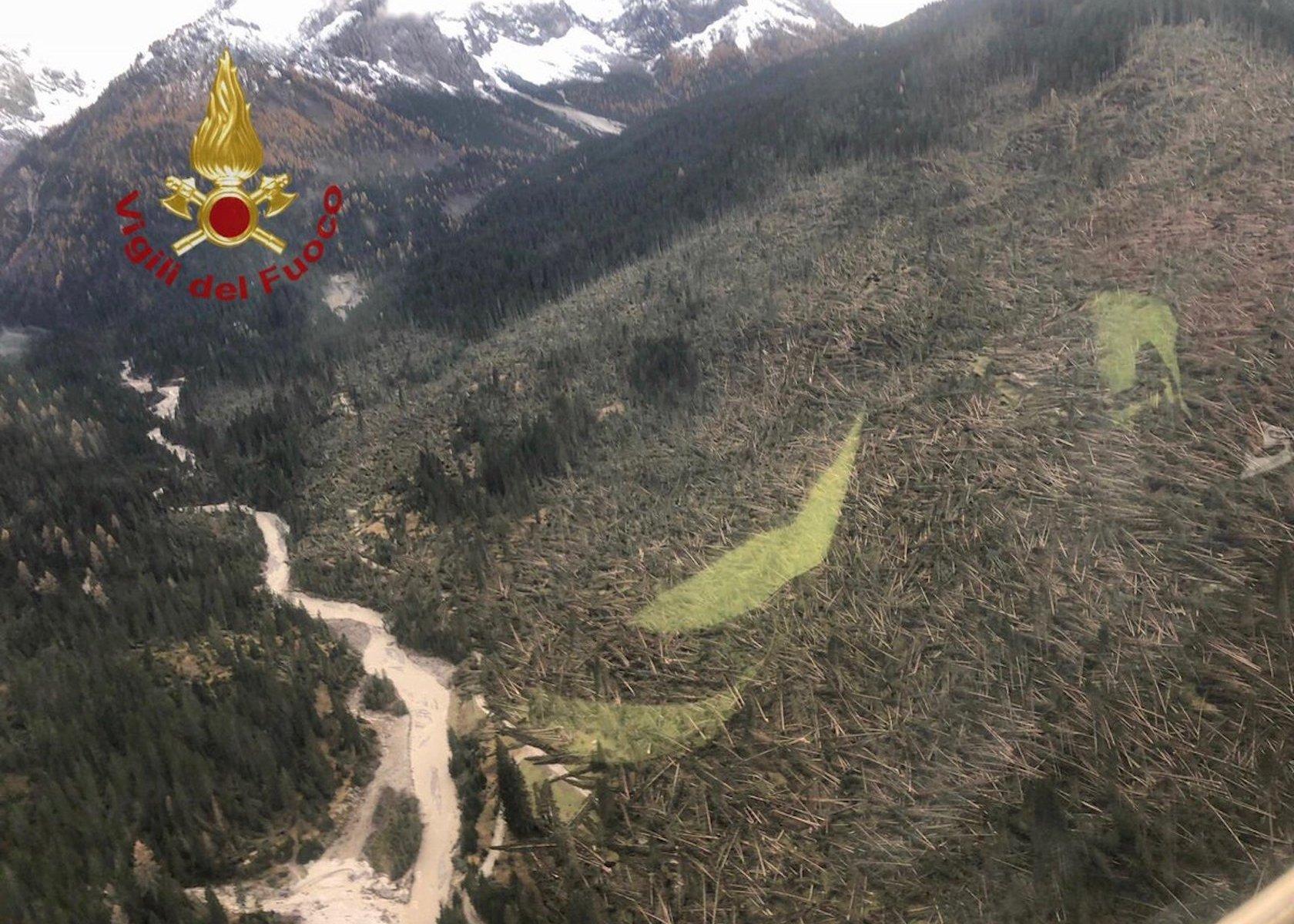 Lots of trees have fallen due to a massive storm in the area of Trentino Alto Adige and Belluno. Photo: Vigili del Fuoco. Twitter.