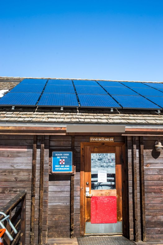 Beaver Creek's Patrol Headquarters has also solar panels for sourcing its electricity. Photo: Vail Resorts. Vail Resorts Announces Long-Term Wind Energy Contract And Plan To Eliminate Conventional Single-Use Dining Plastics In Its 'Commitment To Zero'.