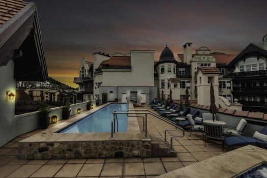 Rooftop pool during sunset at The Arrabelle in Vail, CO. Photo: Charles Toownsend. Vail Resorts. The Must-Read Guide to Vail.