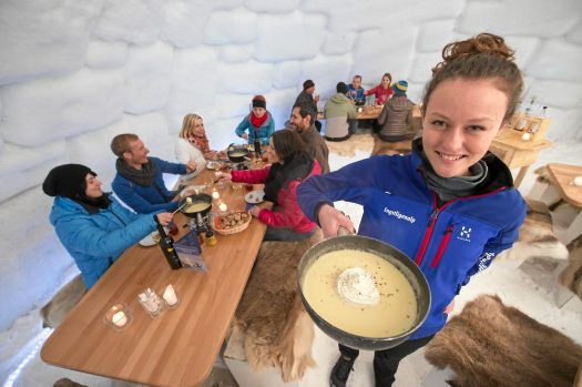 ADELBODEN - A great night out at the Fondu==e Igloo. And maybe you could stay at the Ice Hotel for the night too?  Copyright by Adelboden Tourismus By-line: swiss-image.ch/Stephan Boegli. Adelboden Lenk Kandersteg: What is going on for the 2018-19 ski season.