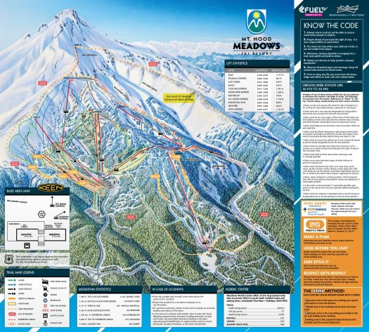 Mt Hood Meadows piste map. Mt Hood Meadows forced to evacuate skiers from chairlift due to a power problem.