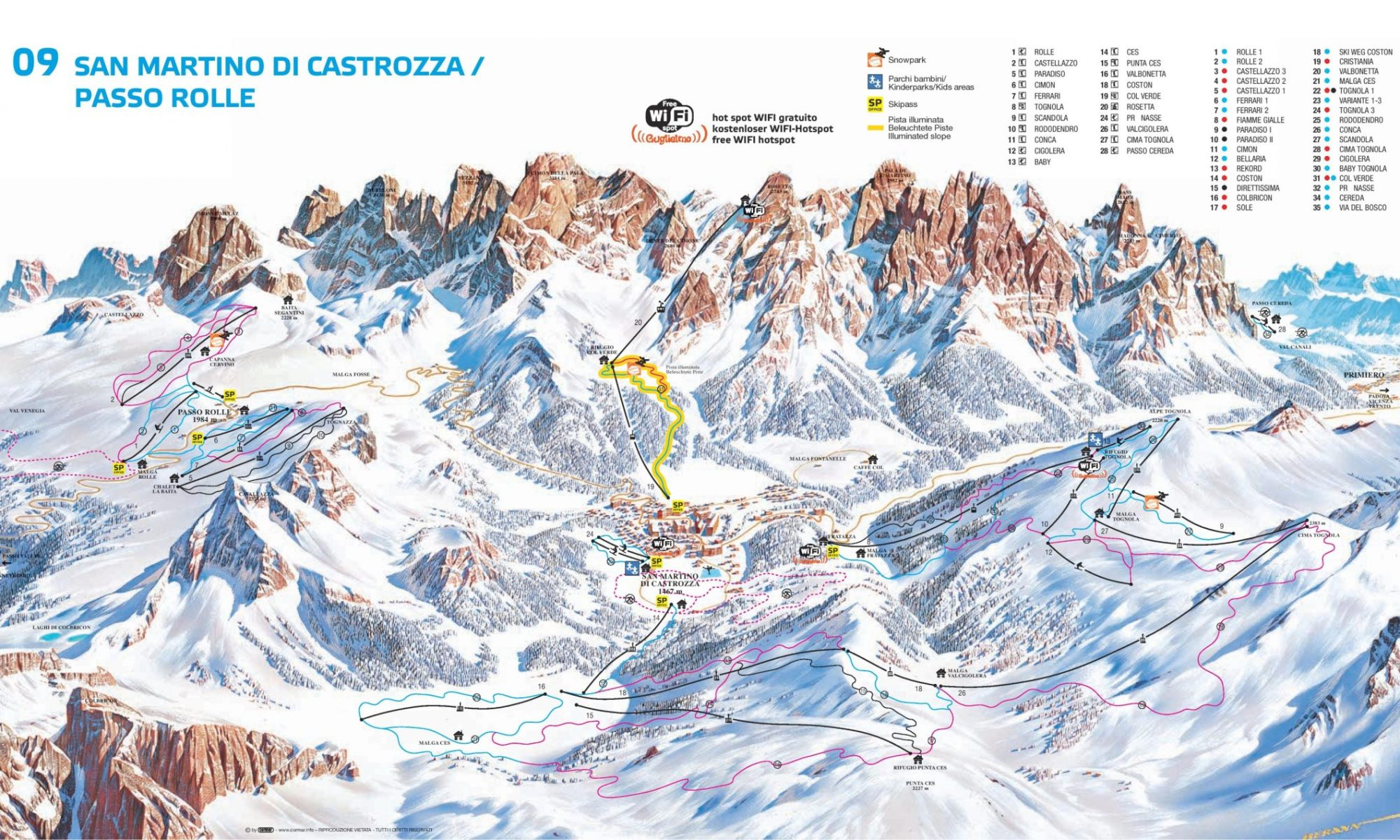 Ski map of Passo Rolle and San Martino di Castrozza. The Ferrari Chairlift has been reopened in record time at Passo Rolle, after being sabotaged.