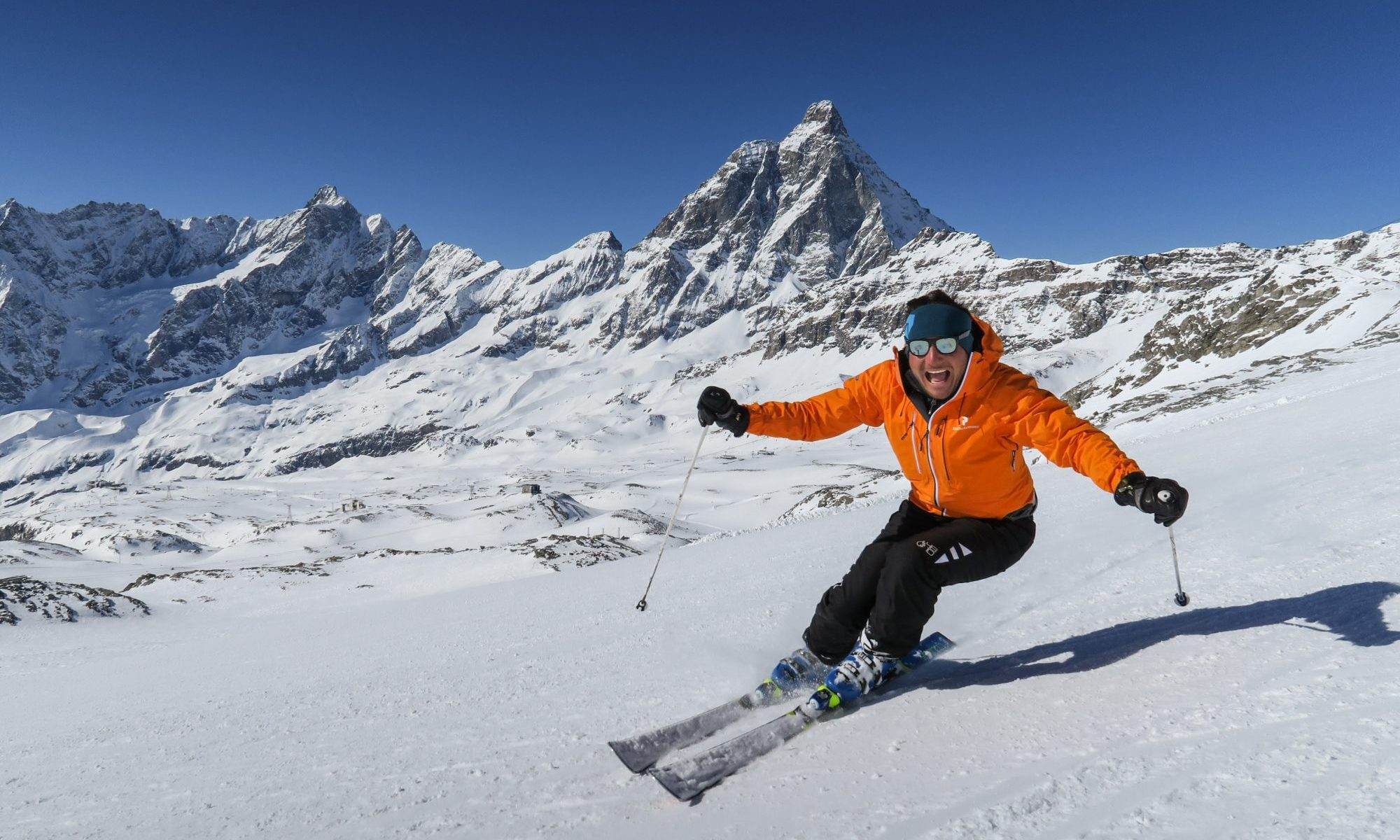 A skier with the Monte Cervino in its background. Spot on Cervino Ski Paradise for the 2018-19 ski season. Photo: Enrico Romanzi. Cervinia Ski Paradise.