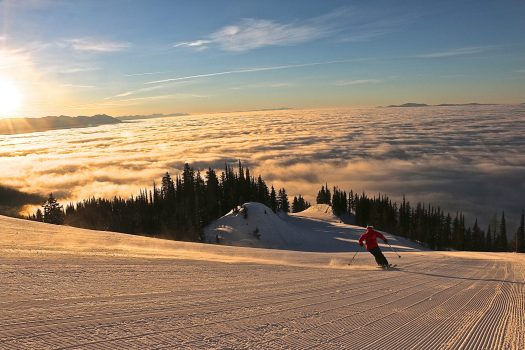 Whitefish Inversion - when the cloud is down valley and the sun up in the mountains. Photo: Whitefish Mountain Resort. Whitefish Mountain Resort got 140 people evacuated from chairlift.