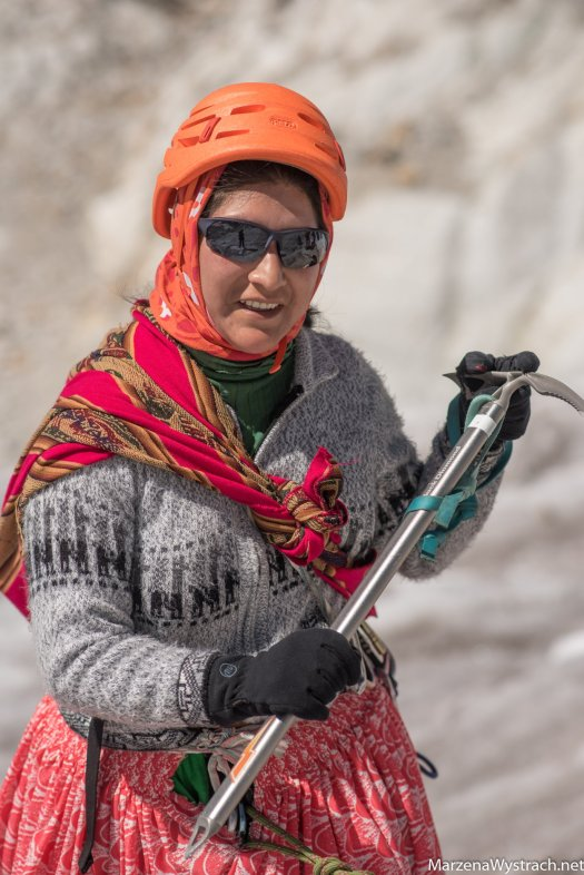 Liita Gonzales, one of the Cholitas. FB photo. Photo by: MarzenaWystrach.net A group of Bolivian 'Cholitas' women to climb Aconcagua
