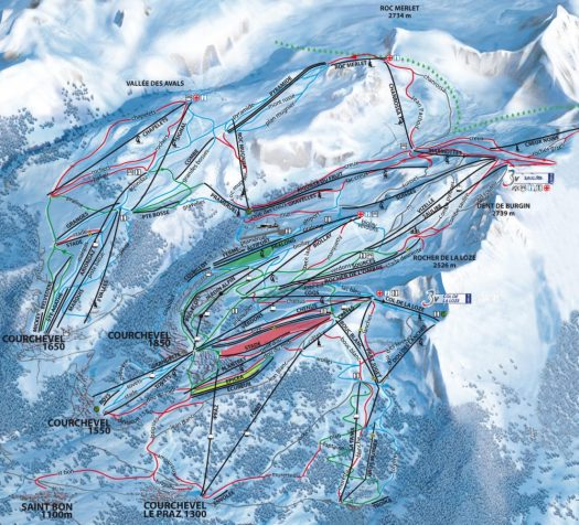 Courchevel ski map. Deadly fire at Courchevel 'may have been arson'