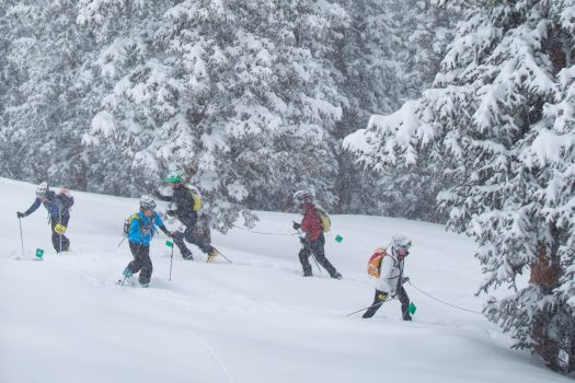 Racers in Aspen Highlands. Photo: Aspen Skiing Company. Audi Power of Four Ski Mountaineering Race Mar. 2-3. New United States Ski Mountaineering Association National Championship.