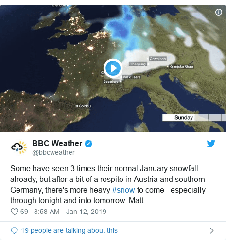 BBC Weather Tweet on the storm over Austria and Germany. Three German Skiers got killed in an Avalanche near the Austrian resort of Lech, fourth is missing.