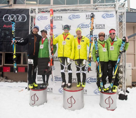 Men's Podium of last year's race. Photo: Aspen Skiing Company. Audi Power of Four Ski Mountaineering Race Mar. 2-3. New United States Ski Mountaineering Association National Championship.
