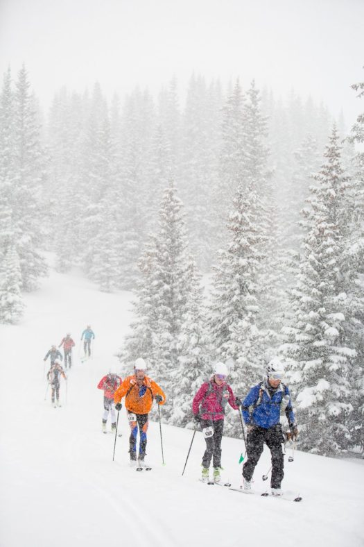 Snowmass Burnt Mountain Climb. Photo: Aspen Skiing Company. Audi Power of Four Ski Mountaineering Race Mar. 2-3. New United States Ski Mountaineering Association National Championship.
