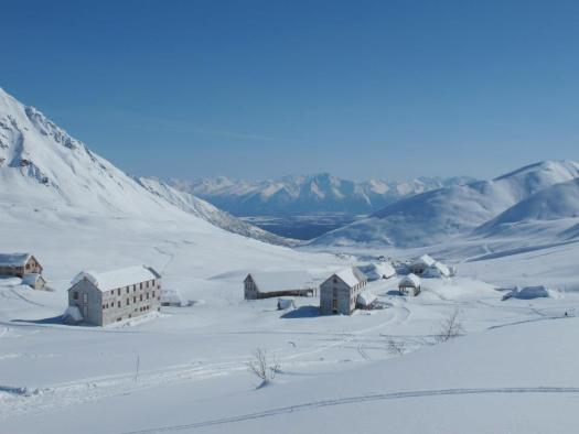 Hatcher Pass in Winter, where Skeetawk Resort is. Skeetawk ski area gets funding for first ski lift.
