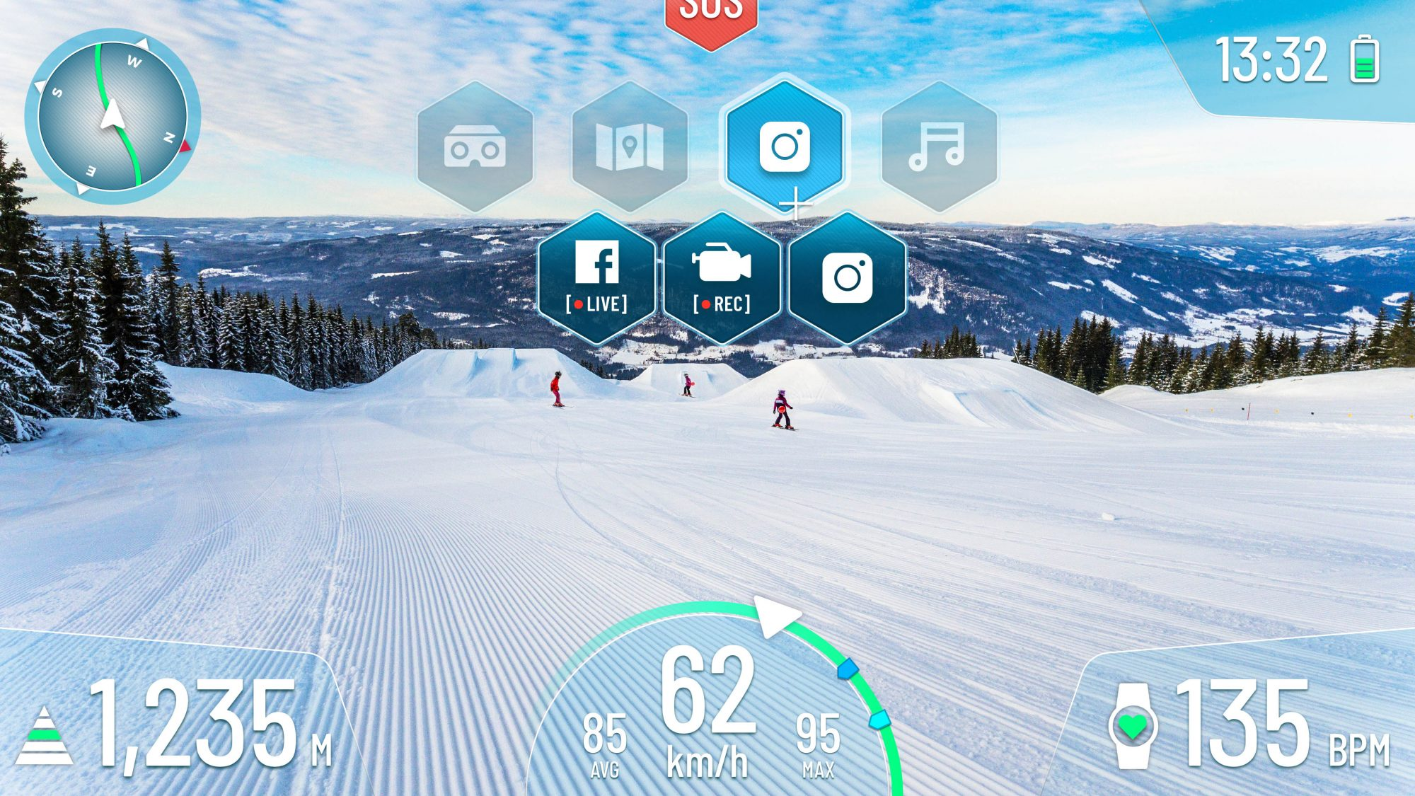 On the visor of the Mohawk helmet, the user can call up various visual data such as speed, altitude and a navigation system. A glance into the future: First ski and snowboard helmet with Augmented Reality is being tested in Schladming-Dachstein.