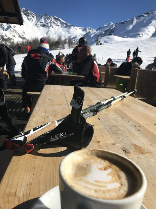 Up at Cafe Grimod for a coffee, seeing my husband and kids doing some laps. At least the weather was nice for being on the deck. Photo: The-Ski-Guru. The Half Term Family Ski Holiday that did not result as planned.