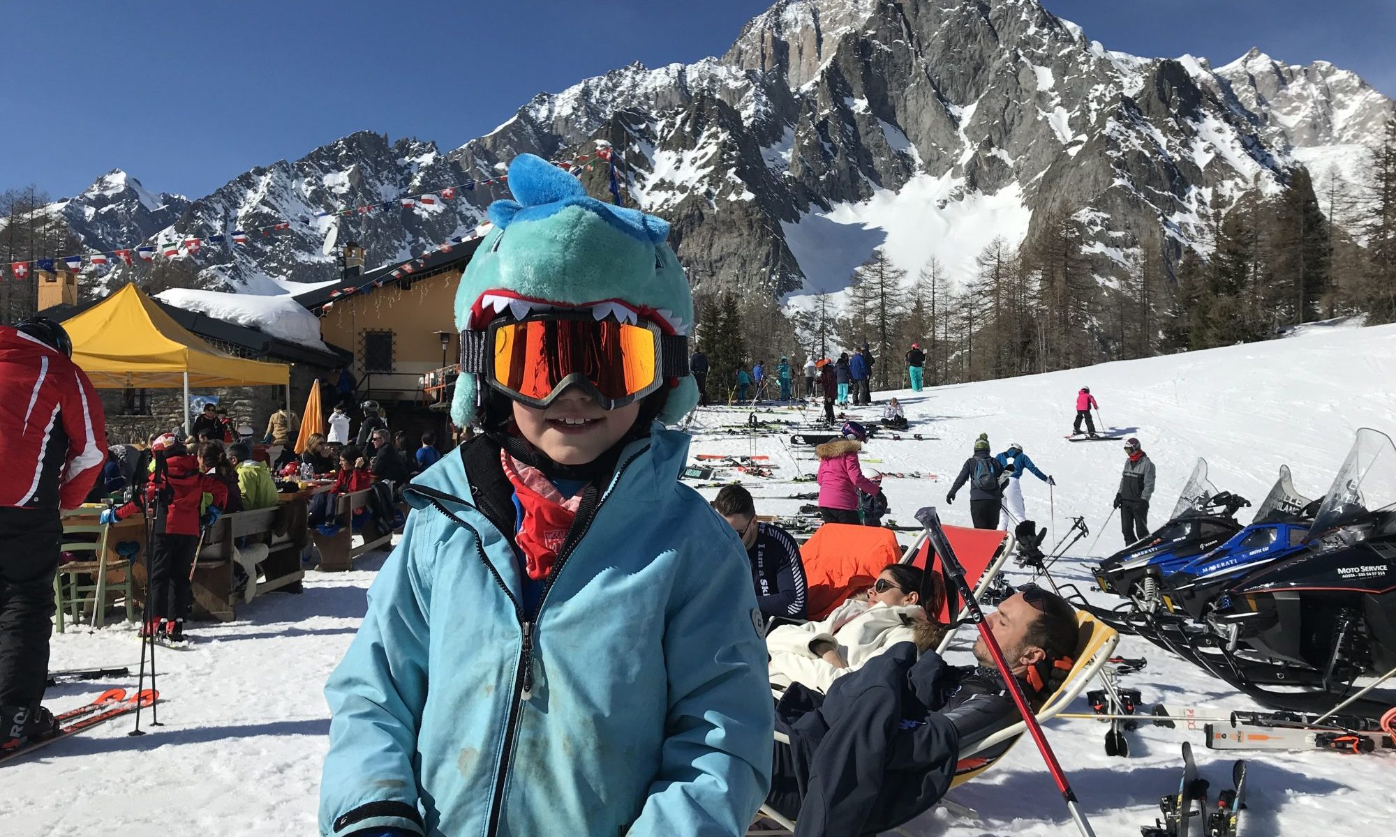 My youngest son at Maison Vielle- with the majestic Mont Blanc behind. Photo: The-Ski-Guru. The Half Term Family Ski Holiday that did not result as planned.