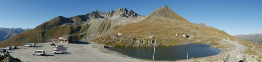 Panorama of Nufenenpass on a nice day. Photo: Alexander Hoernigk. A drive through the Nufenenpass (Passo della Novena) and Grimsel Pass in Switzerland.