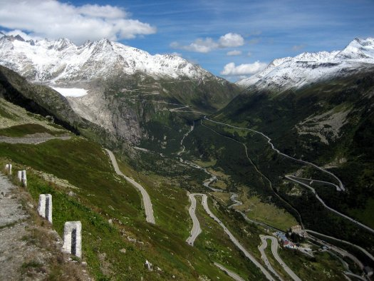 The road up the Grimsel Pass, and to the other side, the road up the Furkapass. Gletsch Valley. A drive through the Nufenenpass (Passo della Novena) and Grimsel Pass in Switzerland.