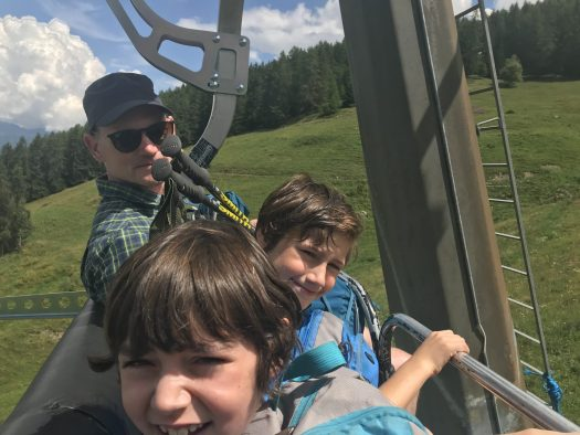 On top of the Chamolé chairlift. Our family hike in Pila during the past summer holiday.