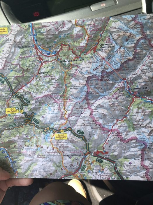 How adventures start - with a good map. The IGN Route des Grandes Alpes. Our Route des Grandes Alpes to cross from France into Italy.