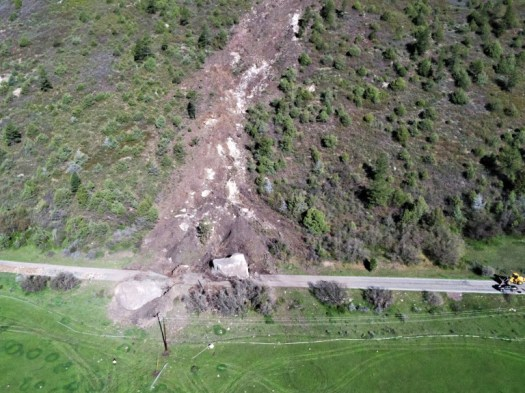 Another aerial picture of the rock slide. Photo: CDOT. A Rockslide, with a boulder of a size of a house, wiped out a section of the highway in SW Colorado.