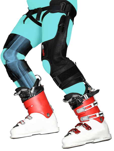 ski~mojo can be used discreetly under your ski pants and not being noticed. Here is a product shot to show how it works. Old knees do not need to mean no more skiing! ski~mojo's review.