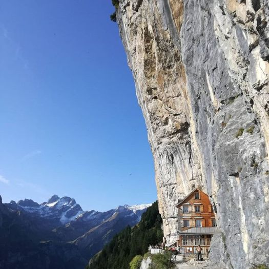 Cliffhanging restaurant opens for the season in Switzerland: Äscher Mountain Restaurant. Instagram photo.