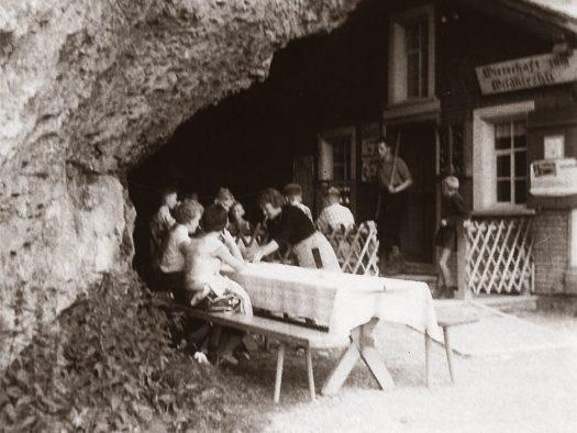 Cliffhanging restaurant opens for the season in Switzerland: Äscher Mountain Restaurant. Historical photo of Äscher Mountain Restaurant.