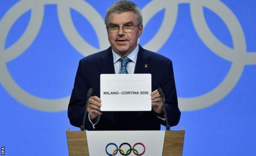 IOC President Thomas Bach opens envelope with the winner being Milano-Cortina for 2026. Milan-Cortina Awarded the Olympic Winter Games 2026.