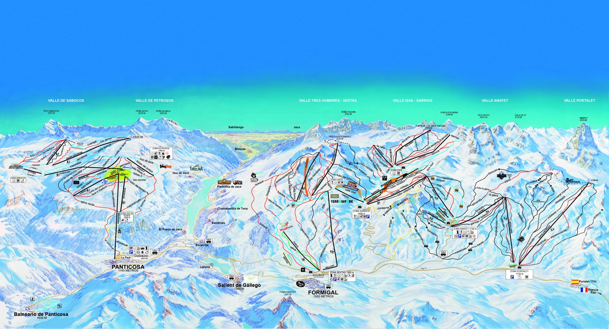 Formigal Panticosa ski map. Green light in Formigal for installation on a new chairlift.