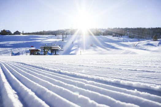 Granby Ranch Photo. How ski grooming patterns can affect visibility in the snow.