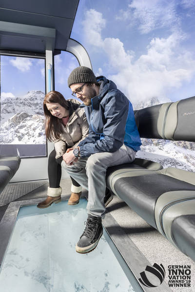 Leitner Crystal ride. The Matterhorn Glacier Ride. German innovation award for Zermatt 3s cabins.