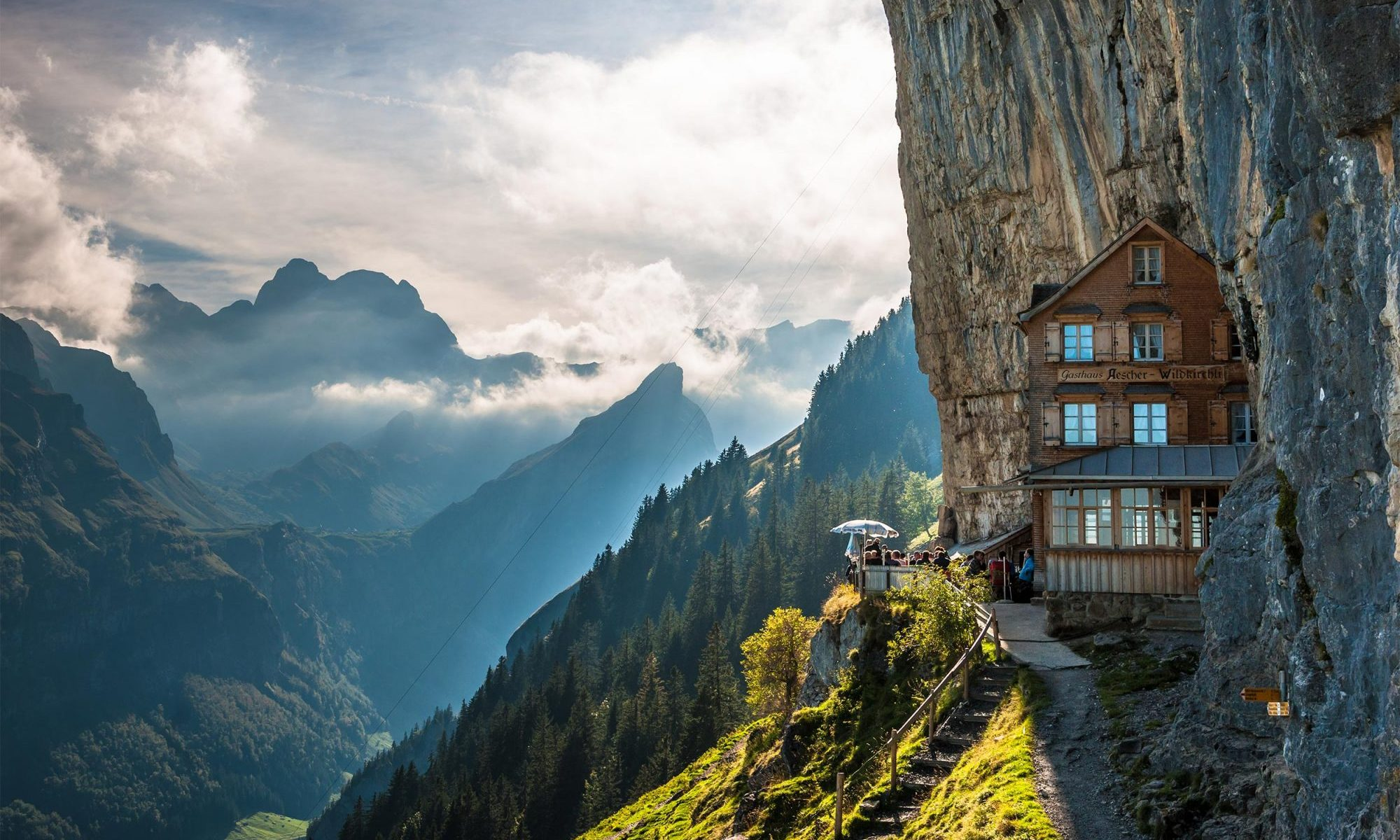 Äscher Mountain Restaurant. Photo: Switzerland Tourism. Cliffhanging restaurant opens for the season in Switzerland: Äscher Mountain Restaurant.