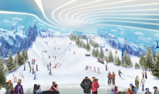 The ski slope in the ski area of American Dream Mall. Rendering courtesy of American Dream Mall. Indoor ski-slope finally opening within American Dream Mall in October.