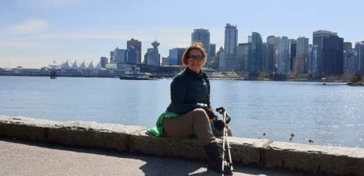Nordic Walking in Vancouver with the city on the background. Training in the off-season for the ski-season- Nordic Walking.