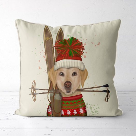 Yellow Lab ski pillow. Etsy FabFunky Pillows.