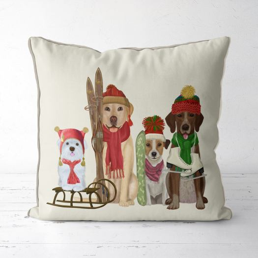 Ski dog pillow. FabFunky Pillows. Etsy. What to buy to the skier or boarder at heart for Christmas.