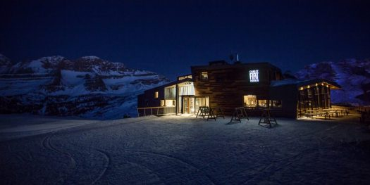 Chalet Fiat by night. Dinner at 2100 m. The Ski Area Campiglio Dolomiti di Brenta is opening its 2019/20 ski season. News of the resort.