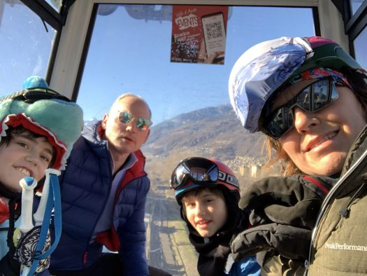 Going up the gondola in Pila on Christmas day. Our Christmas holidays in the mountains with the kids and our dog! Courmayeur, Aosta.